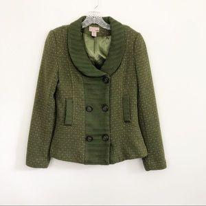 H&M Trend Green Tweed Wool Blazer - Size 6
